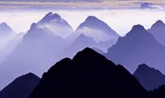 Blick vom Großen Krottenkopf in den Allgäuer Alpen auf die Hornbachgruppe
