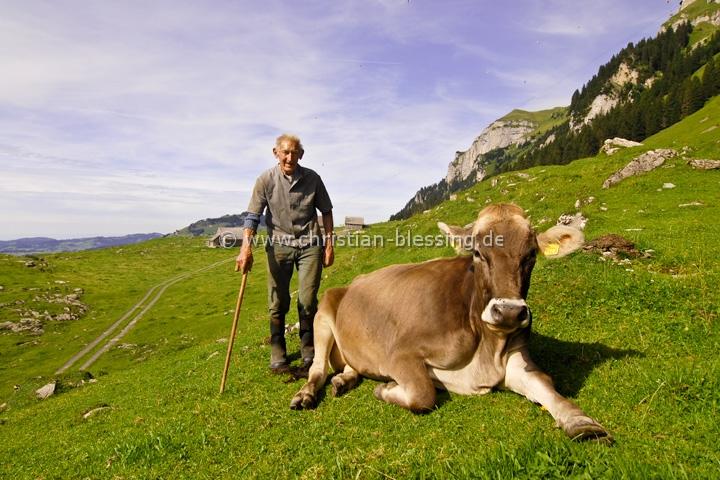Senner am Hohen Kasten im Appenzeller Land (Schweiz)