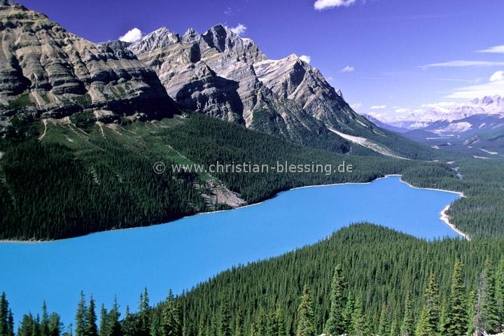 Peyto Lake am Icefields Parkway in Kanada - Dieser Bergsee im Banff National Park in den kanadischen Rocky Mountains gilt als einer der schönsten Gletscherseen der Welt.