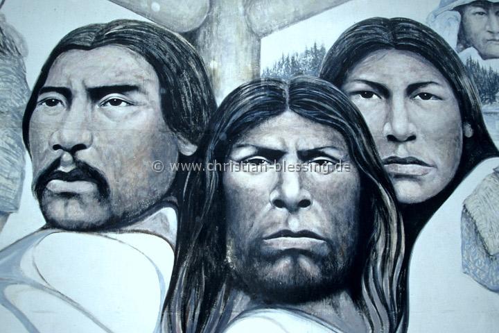 Wandgemälde in Chemainus auf Vancouver Island in British Columbia (Kanada)