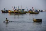 Fischer am Strand von Mue Ne in Vietnam